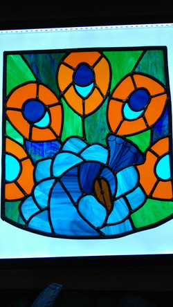 Stained Glass Peacock - student work
