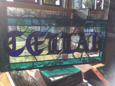 Kitchen commission - stained glass cupboard doors