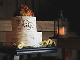 Wedding cake in a rustic setting