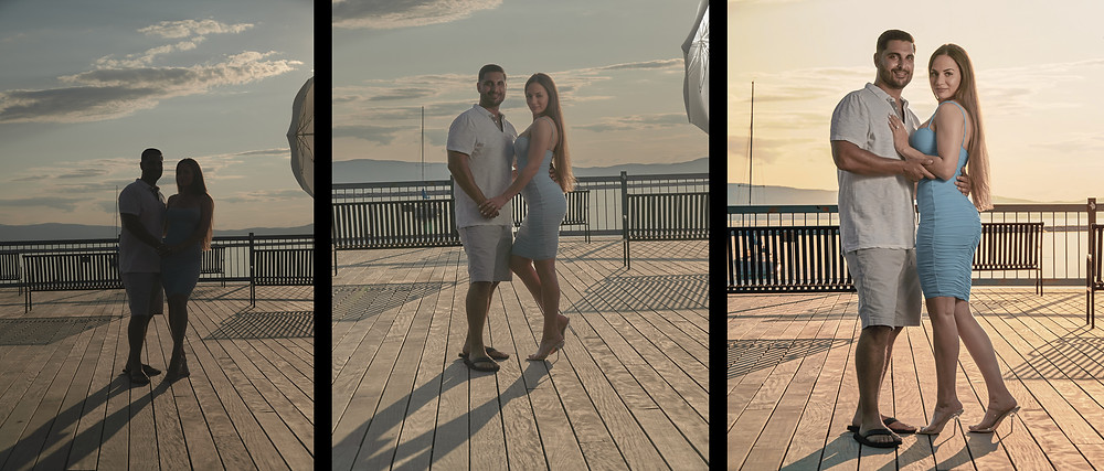 three photographs of a couple posing, one is underexposed, on is properly exposed, and one is edited to enhance the image overall.