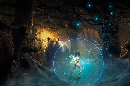A winged warrior and glowing blade stands off against a giant bear as two others flank her.