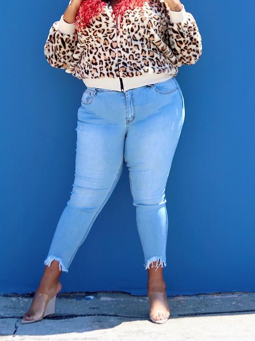 Fringe Bottom Skinny Jeans
