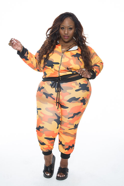 Orange Camouflage Sweatsuit