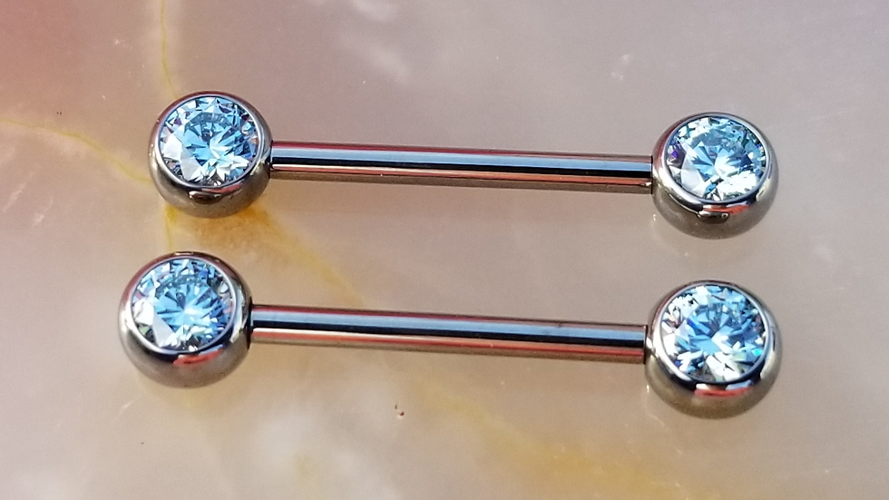 Faceted Gem Straight Barbell