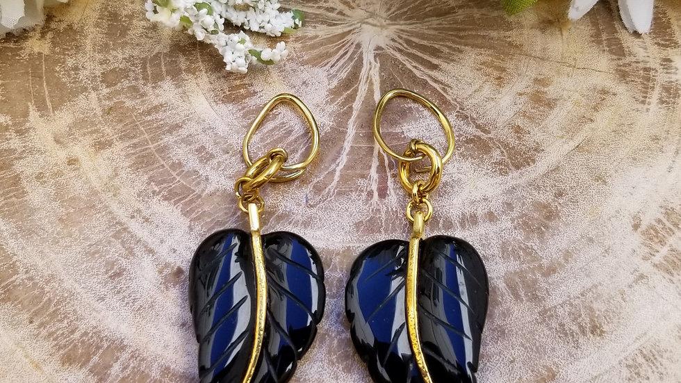 Obsidian Leaf Dangles