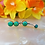 Thumbnail: Cabochon Gem Curved Barbell with Double Stone Dangles