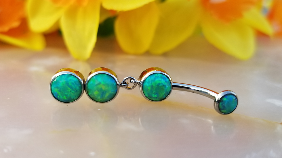 Cabochon Gem Curved Barbell with Double Stone Dangles