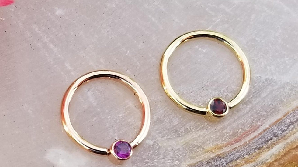 Genuine Gemstone Fixed Bead Ring