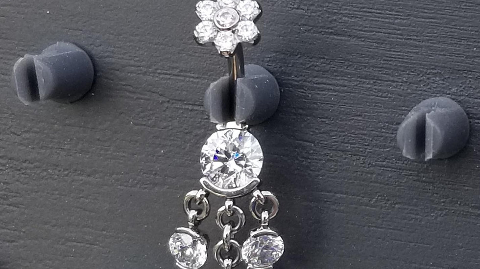 Faceted Gem Curved Barbell with Triple Stone Dangles