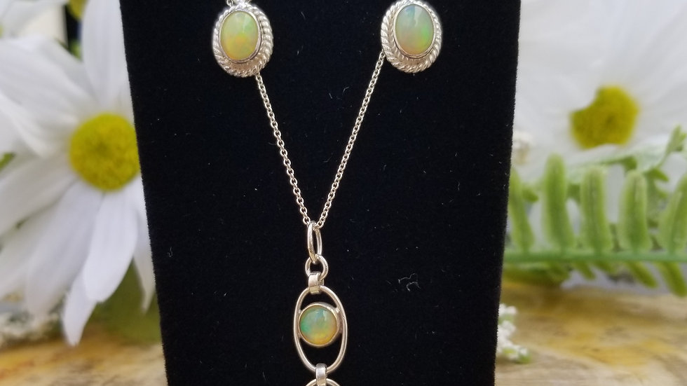 Ethiopian Opal Earring and Necklace Suite