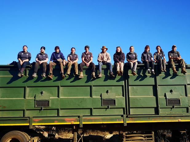 Volunteers On Game Capture Truck