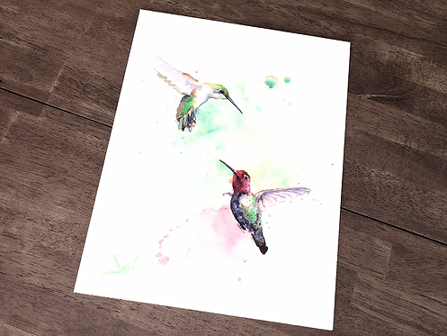 Dancing Hummingbirds Original Watercolor Painting
