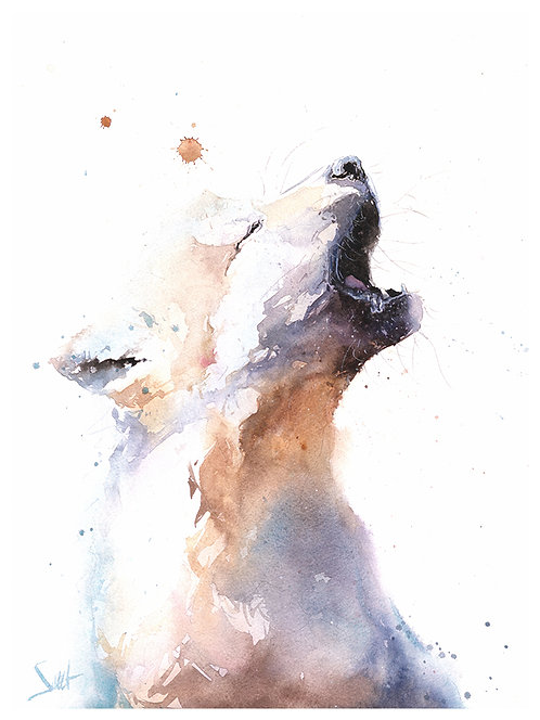 Wolf Pup Watercolor Print