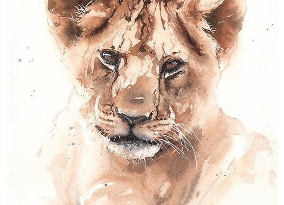 Lion Cub Watercolor Print