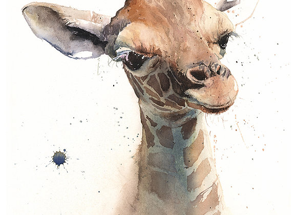 Giraffe Calf Watercolor Print