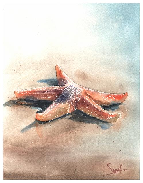 Starfish Watercolor Print
