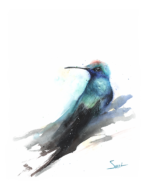 Blue Hummingbird Watercolor Print