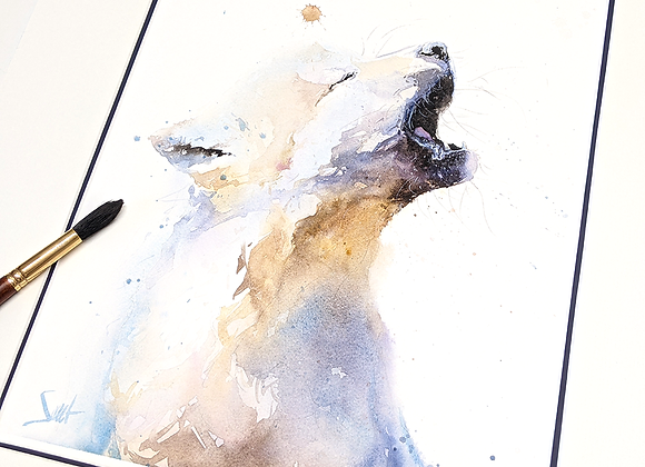Wolf Pup Original Watercolor