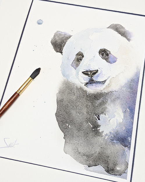 Panda Cub Original Watercolor