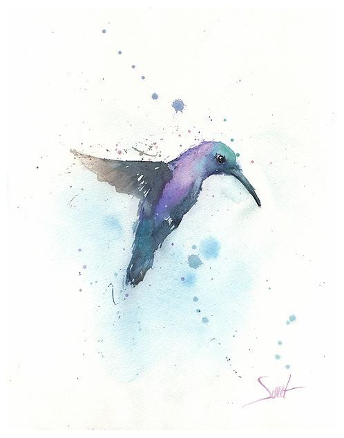 Purple Hummingbird Watercolor Print