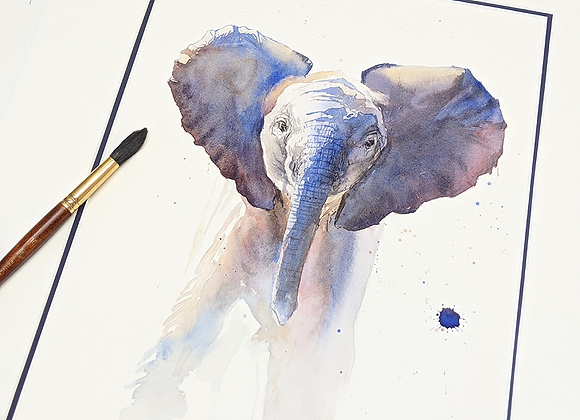 Elephant Calf Original Watercolor