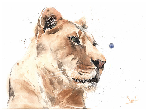 Reina Lion Original Watercolor Painting