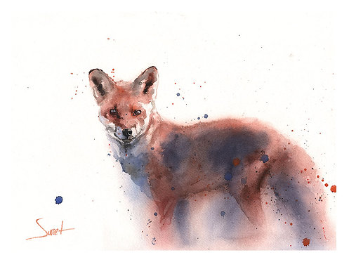 Red Fox Watercolor Print