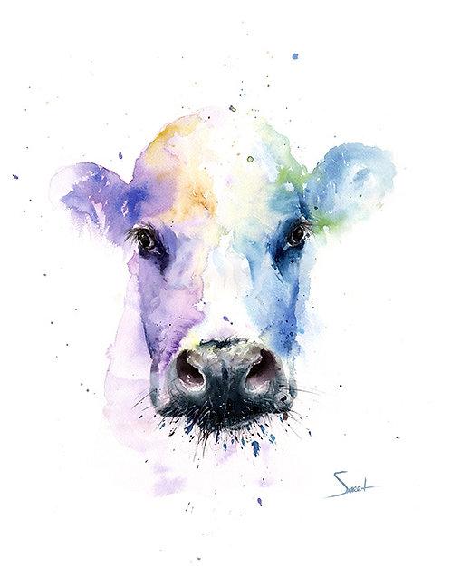 Spirit Cow Watercolor Print