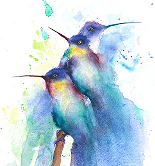Golden Tailed Hummingbird Watercolor Print