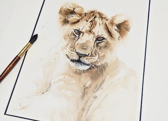 Lion Cub Original Watercolor