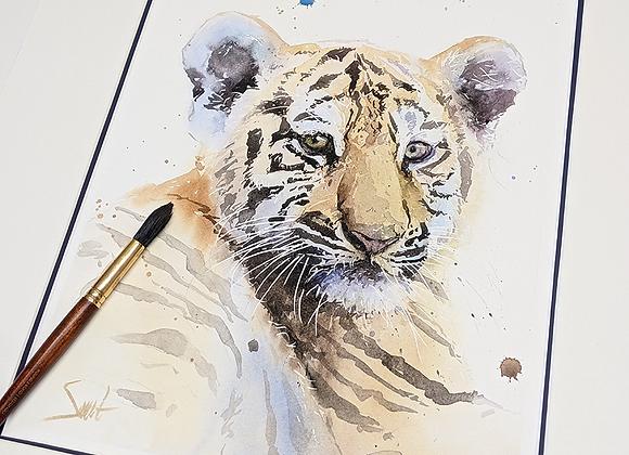 Tiger Cub Original Watercolor