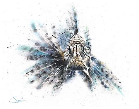 Lion Fish Watercolor Print