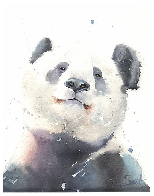 Giant Panda Original Watercolor Painting