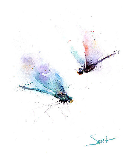 Dragonfly Watercolor Print