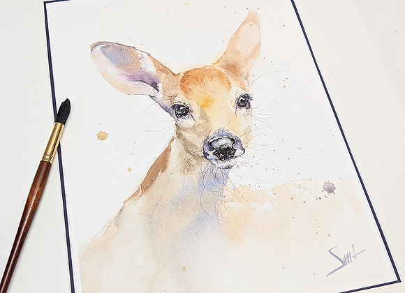 Deer Fawn Original Watercolor