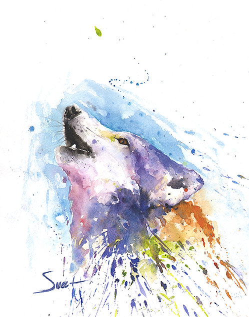 Howling Wolf Watercolor Print