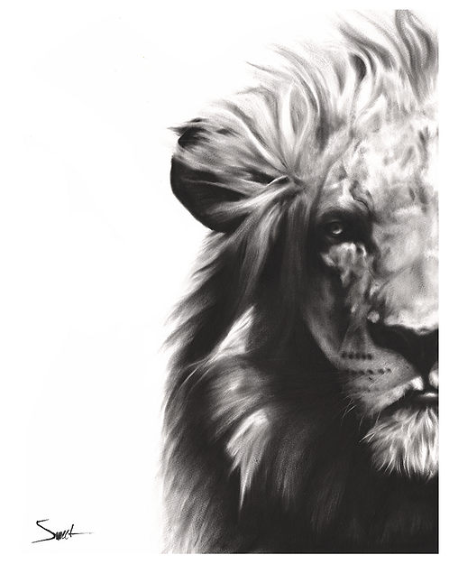 Lion Oil Painting Print