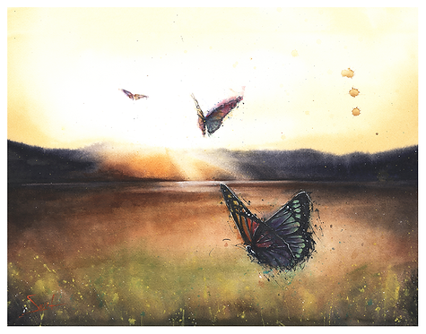 Butterfly Landscape Original Watercolor Painting