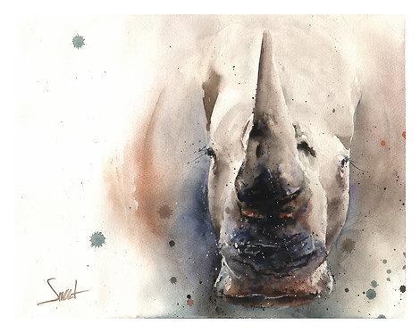 White Rhino Watercolor Print