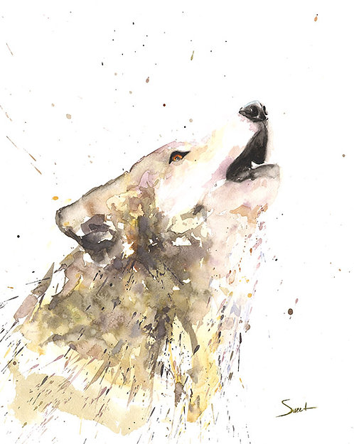 Howling Wolf Watercolor Print 2