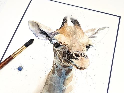 Giraffe Calf Original Watercolor