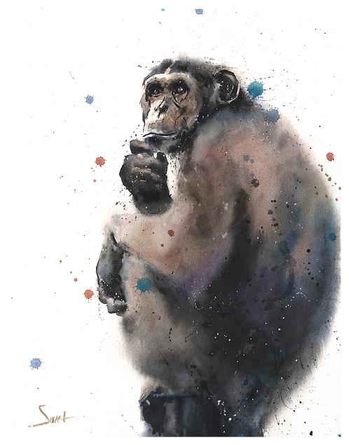 Chimpanzee Watercolor Print