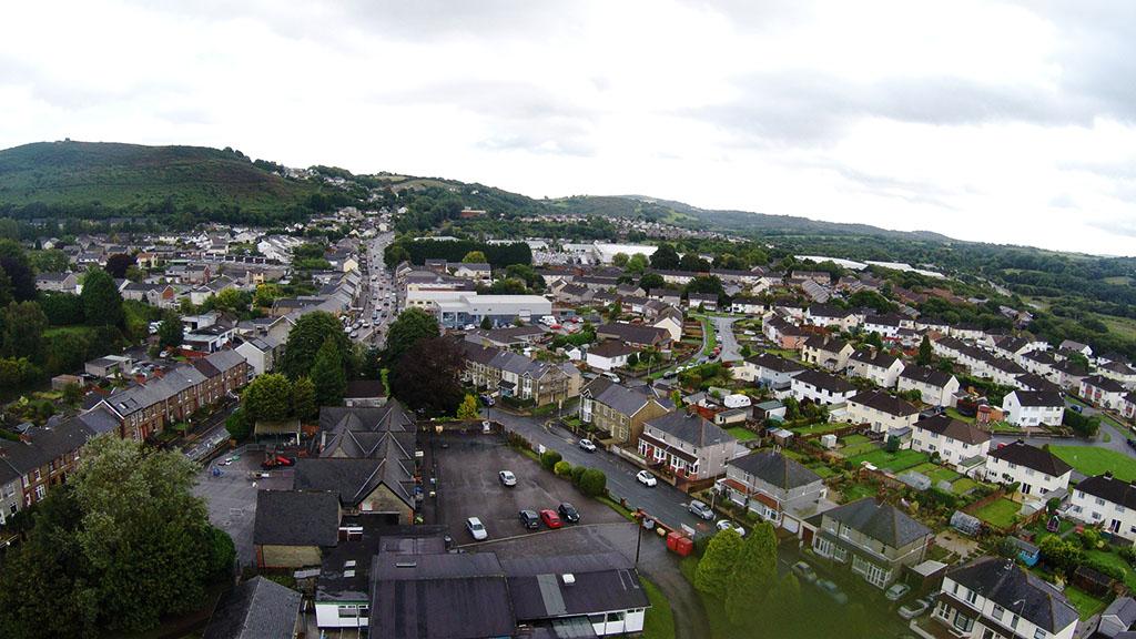 Aerial shot of village centre