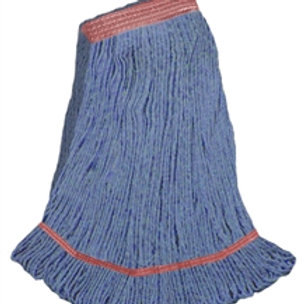 """Large red blend looped end wet mop 1 1/4"""" band"""