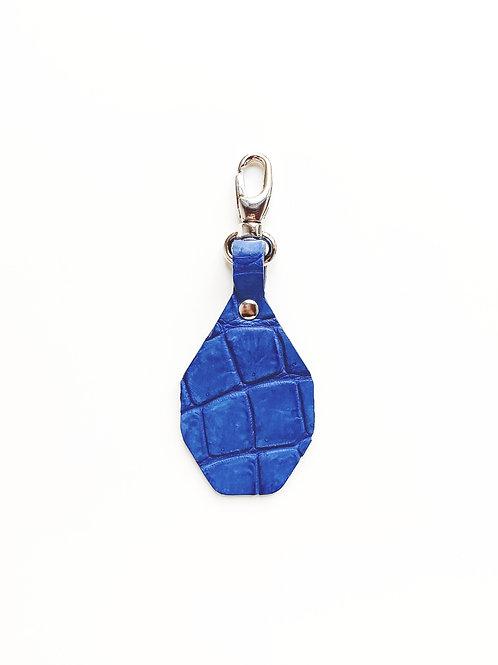 Porte-clés à personnaliser - Croco Bleu électrique mat