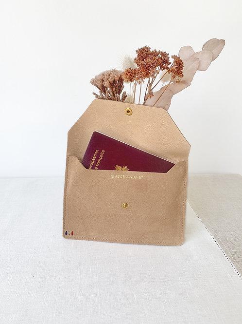 Pochette passeport - Beige velours