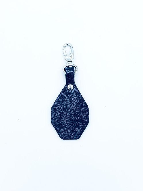 Porte-clés à personnaliser - Caviar noir argenté & Noir