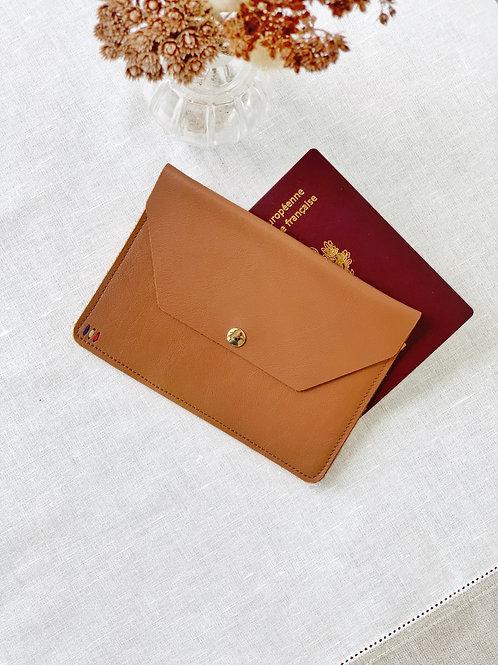 Pochette passeport camel