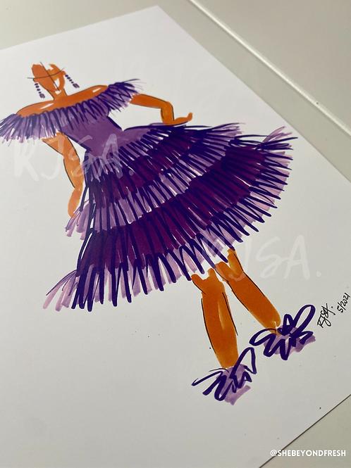 Lady Lavendar/Twirl in Tulle illustration print