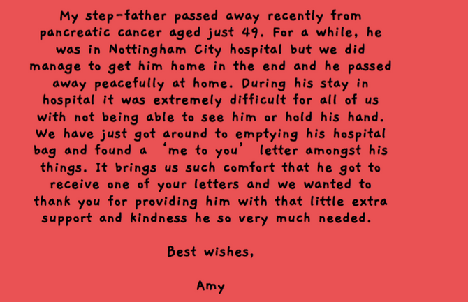 LETTER RECIPIENT FEEDBACK MAKES OUR DAY